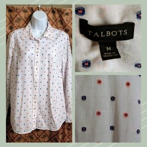 Talbot's White Cotton Long Sleeve Swiss Dot Shirt